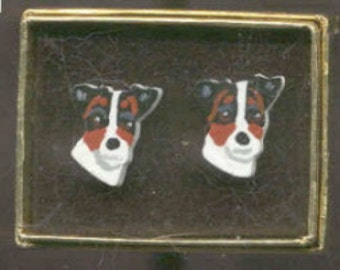 Markdown Sale...Wooden JACK RUSSELL TERRIER Tri-color Head/Face Handpainted Post Earrings