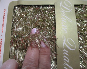 Vintage Gold Tinsel Garland-Made in West Germany-3 feet