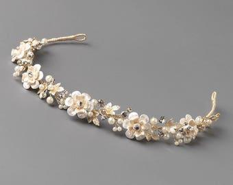 Gold Floral Wedding Headband, Floral Bridal Headband, Flower Headband, Gold Headband, Gold Headpiece, Bridal Hair Accessory, Gold ~TI-3307