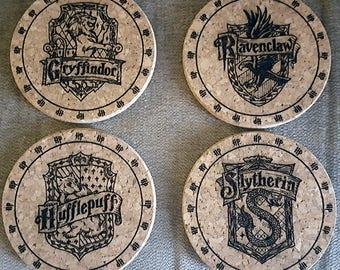 Set of four Harry Potter laser engraved cork coasters