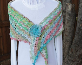 Crochet Wrap Pattern, Lace Crochet Shawl Patterns, Crocheted Wrap Pattern using Shell Stitch, Noro Yarn Pattern, Crochet Patterns