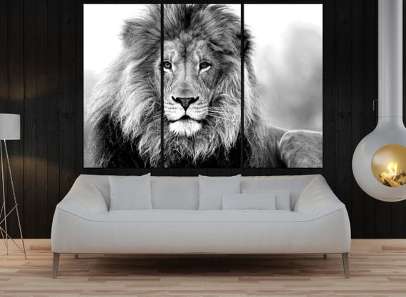 Black And White Lion Wall Art Canvas Print For Living Office