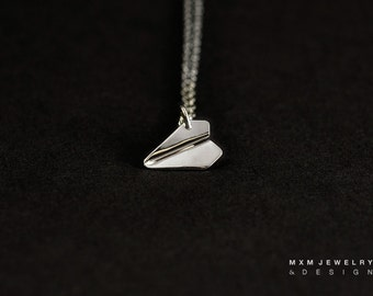 Mini / The Original HandFolded Paper Airplane Necklace / Sterling Silver