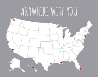 USA Map, First Anniversary Gift for Boyfriend, Gift for Him, Couples Travel Map, Husband Gift, Sentimental Gifts, United States Map DIY Kit