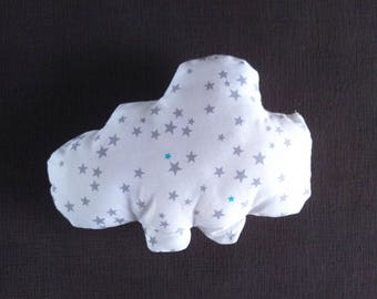 Small cloud shaped pillow-toy star/nightblue gray turquoise on white background