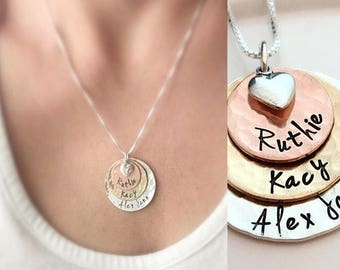 Mother's Day Gift  - Hammered Disk Necklace - Three Layered Loves - Mothers Necklace - Personalized Gift for Grandma - Custom Name Necklace