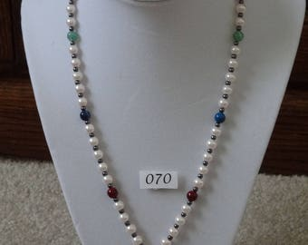 Mixed beads with beautiful mother-of-pearl bird pendant and matching pierced earrings