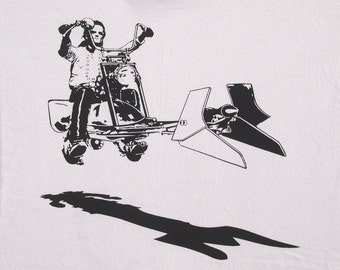 Mens Star Wars easy rider speeder bike on mens t shirt- american apparel silver, available in S,M, L ,XL, XXL- WorldWide shipping