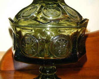 Fostoria Green Glass Covered Compote// Vintage Lidded  Candy Dish//SALE