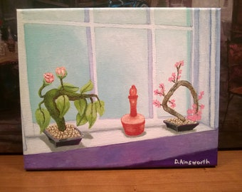 New Orleans Art / FREE SHIPPING / Flowers & Perfume Bottle / From Original Painting PG Window / Lagniappe / Certificate of Authenticity
