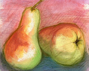 Pears study 2 in pastel, original mixed media art, unmounted on heavy mixed media paper,