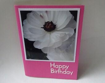 Happy Birthday Card with White Ranunculus Flowers #1301 - Floral Photo Card, Ranunculus Photo Card, Ranunculus Birthday Card