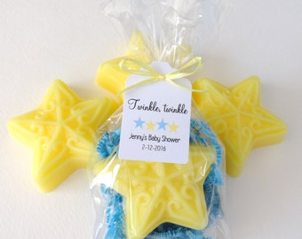 Yellow Star Soap, Baby Shower Favors w/ Custom Tags & Blue Crinkle Paper, Twinkle Twinkle Little Star Theme, Baby's Birthday, 12 Favors