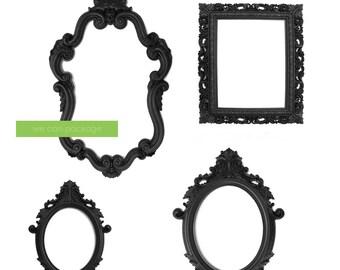 DEAL! BLACK Large Picture Frames - Baroque Photo Frames - Vintage Wedding Frames - Black Photo Props