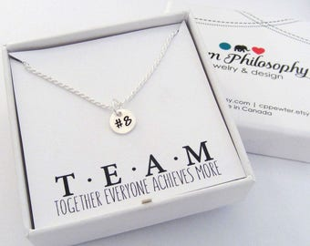 Number Necklace - Custom Handstamped Number Charm - 925 Sterling Silver Jewelry - Sport's Team Gifts - Personalized Gifts