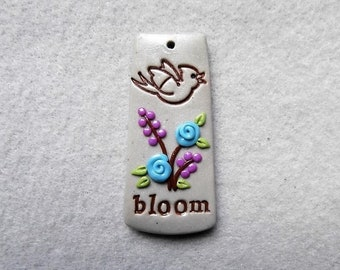 Life Message Pendant/Bird and Flowers Pendant in Polymer Clay - Bloom