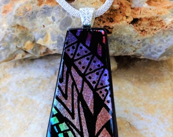 Gold, Pink and Purple Glass Pendant, Southwest Dichroic Glass Necklace, Picasso Pendant, Fused Glass Pendant, Zentangle Style Glass Pendant