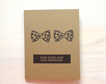 Notebook: Bow Ties, Gay Wedding Gift, Medium Notebook, Brown, Wedding Favor, Journal, Blank, Unlined, Unique, Gift, Small, For Her, For Him