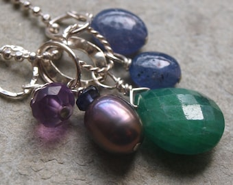 Pearl and Iolite Charm Pendant