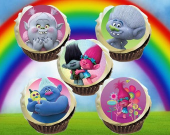 Trolls Edible Cupcake Oreo Image Toppers *Printed on Premium Quality Icing Sheets*