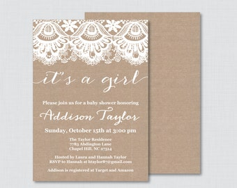 Burlap and Lace Baby Shower Invitation Printable or Printed - Burlap Lace Baby Shower Invite Boy, Girl, or Gender Neutral Invitation 0063