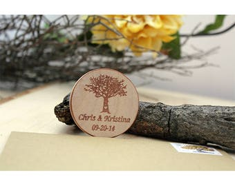 Tree Custom Magnets - Wooden Magnets Wedding Favor rustic magnets  Custom Save the date  made to order fall theme large size