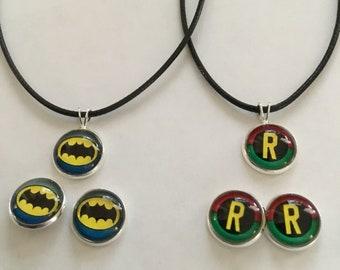 DC Comics superheroes Batman & Robin Set Earrings Plus Necklaces