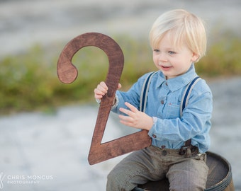 """2nd Birthday Photo Prop - 15"""" Wooden Number Two - 2nd Birthday - Wooden Number Prop"""