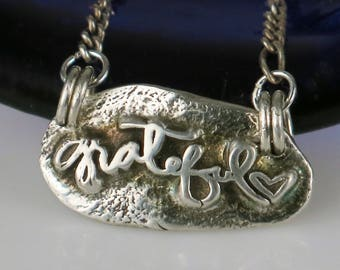 """Grateful Heart Fine Silver Gift - Fine Silver Necklace """"Grateful"""" Heart Gift - Gratitude Gift for a Grateful Heart Fine Silver Necklace"""