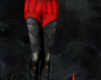 Large Renaissance Gothic Clothing Romana Armour Leggings Red Black Armor Cosplay Leggings Women Alternative Goth Punk Fantasy