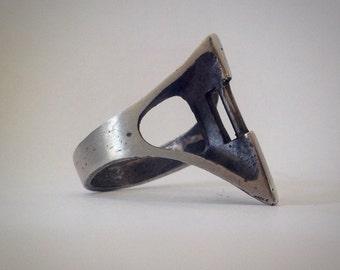 Bone mask ring.  Version 3.  Sterling silver.  Handmade