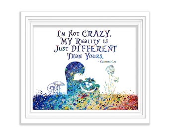 """Cheshire Cat Watercolor Art Print Alice In Wonderland Quote """"I'm Not Crazy"""" Painting Home Decor Nursery Wall Art Illustration (No.179)"""