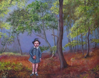 The Last Time I Saw Gretel, Original Painting, Fairy Tale Art, Folk Tale Art, Storybook Art, Hansel and Gretel, Storybook Art, Forest, Candy
