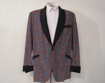 Vintage jacket, smoking jacket, 1960s jacket, tuxedo jacket, corduroy tux, vintage clothing, XL