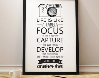 Quotes About Cameras, Quote Life Is Like A Camera, Funny Camera Quotes,  Quotes About Life, Black And White Camera Poster, Home Decor, Camera