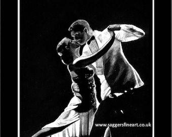 Dancing in the Shadows, Fine art print, dancing art.