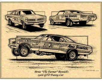 1966 Pontiac GTO Funny Car, Arnie The Farmer Beswick  Drag Racing Car Art Print Racing Arnie Beswick,1966 GTO Funny Car Racing Art