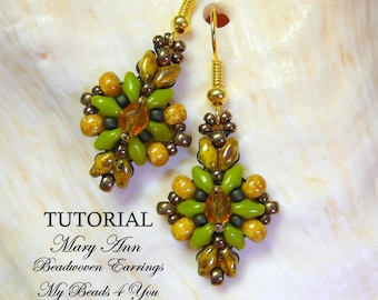 PDF Tutorial Beaded Earrings,SuperDuo Tutorial,Seed Bead Earrings Pattern,Earring Tutorial, Beading Tutorial, How to Bead Earrings,Tutorial