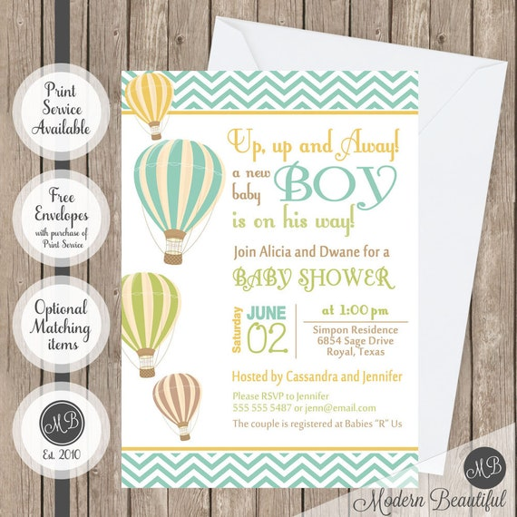 Chevron Hot Air Balloon Baby Shower Invitation Up Up And