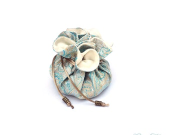 Drawstring Jewelry Pouch, Aqua Paisley Brocade, Teal and Gold, Light Blue, Satin