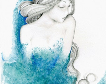 Bathroom Wall Art Print Teal Watercolor Women Spa Soothing Comfort Women Art Print Women in Art Painting of a Girl Bathroom Decor Spa Decor