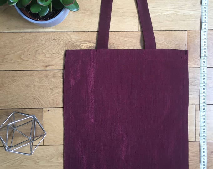 Burgundy two tone fabric Tote Bag with zip compartment wine colour