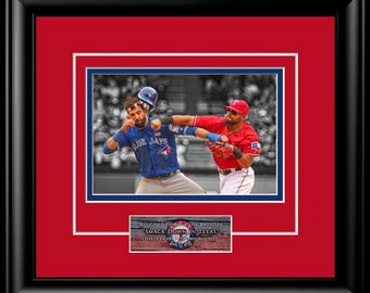 Ready to Frame matted Rougned Odor vs Jose Baustista photo