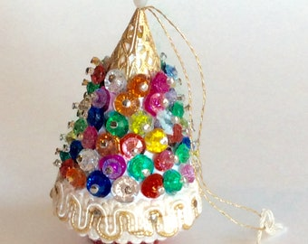 Vintage Bead and Sequin covered Christmas Tree Ornament