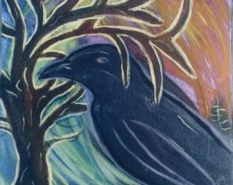 Enlightened raven 12x12 canvas painting, gift, home decor, tree art, abstract