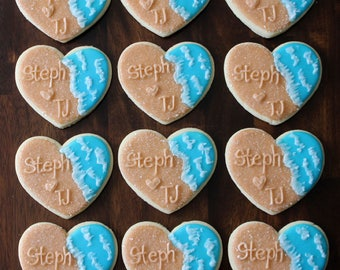 Beach Wedding Favor Decorated Sugar Cookies