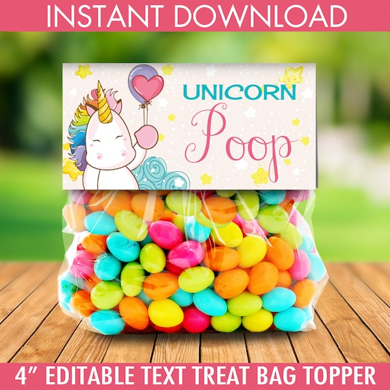 Unicorn Party Treat Bag Topper Unicorn BirthdayRainbow