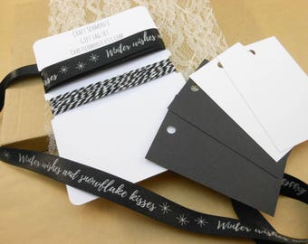 modern gift wrap, Christmas giftwrap, Satin Ribbon, Gift tags, monochrome , Christmas tags, Holiday gift tags, gift wrap, large, black