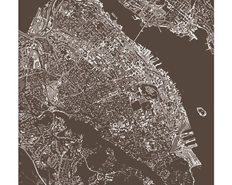 Halifax Cityscape / Nova Scotia Canada City Map Art Print / 8x10 Poster/ Choose your color