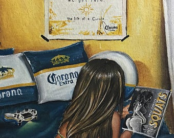 JEREMY WORST Corona ad Original Acrylic Painting Cyber Monday sale hair sexy butt booty sexy bottle beer art artwork